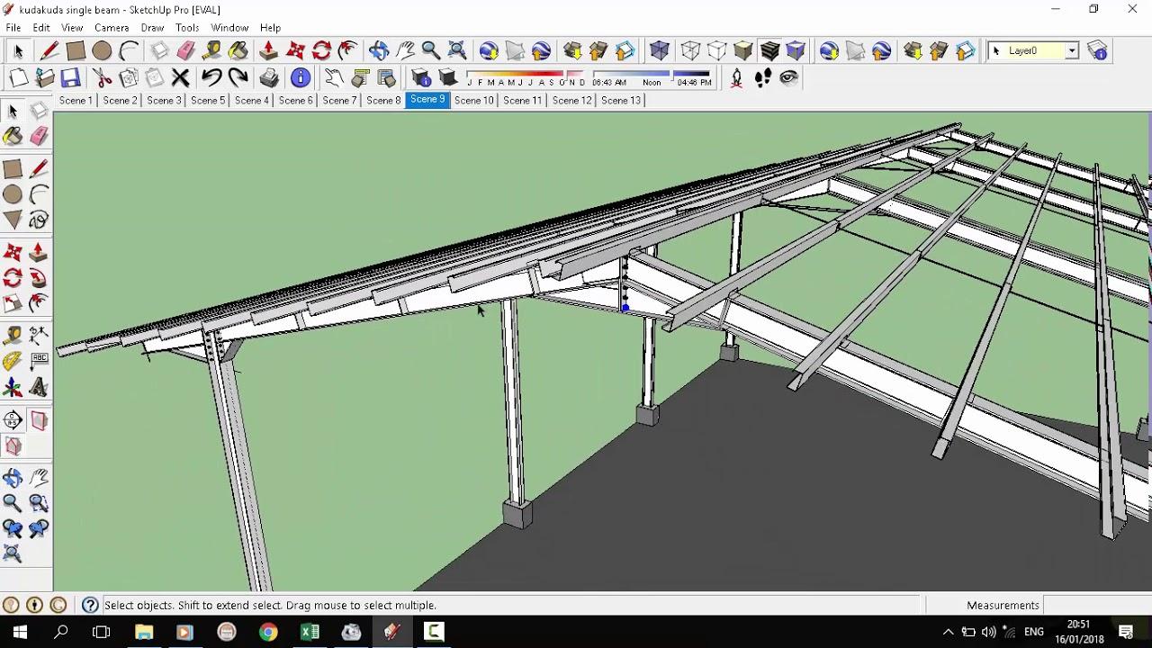 Komponen Struktur Atap Baja Kuda Kuda Baja Single Beam 3d Sketchup Media Pembelajaran Atap Youtube