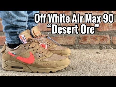 "Air Max 90 Off White ""Desert Ore"" on Feet"