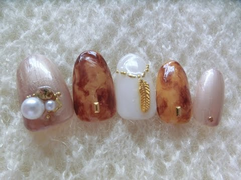 【Autuman-Fall Nail Art Designs】How to make Tortoiseshell Nail Art