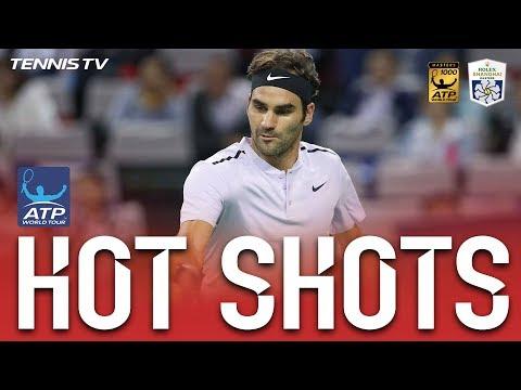 Federer Fires Backhand Hot Shot Shanghai 2017