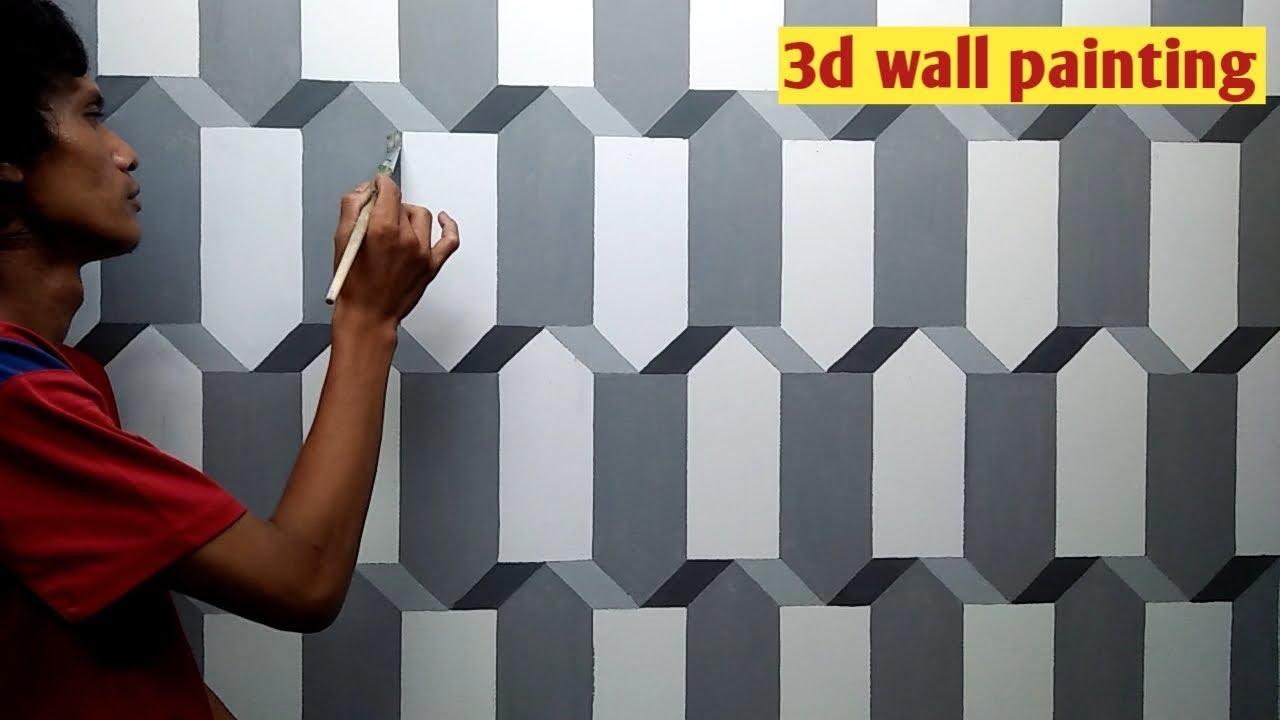 Cara cat  tembok  motif  3d  3d  wall painting tutorial