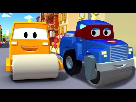 Carl the Super Truck and the Steamroller in Car City with Tom the Tow Truck | Trucks cartoons