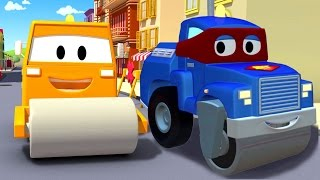 carl the super truck and the steamroller in car city with tom the tow truck   trucks cartoons