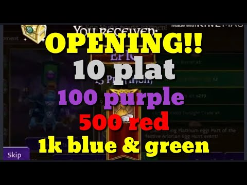 Arcane Legends/ Opening 10 Plat Eggs, 100 Purple, 500 Red, 1000 Blu And Green!