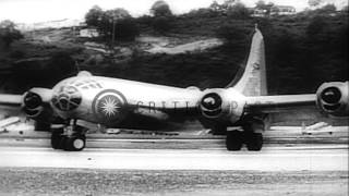 A United States Army Air Force B-29 Superfortress heavy bomber aircraft takes off...HD Stock Footage