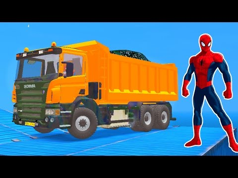YELLOW TRUCK with Spiderman Cartoon for Kids & Nursery Rhymes Songs for Children