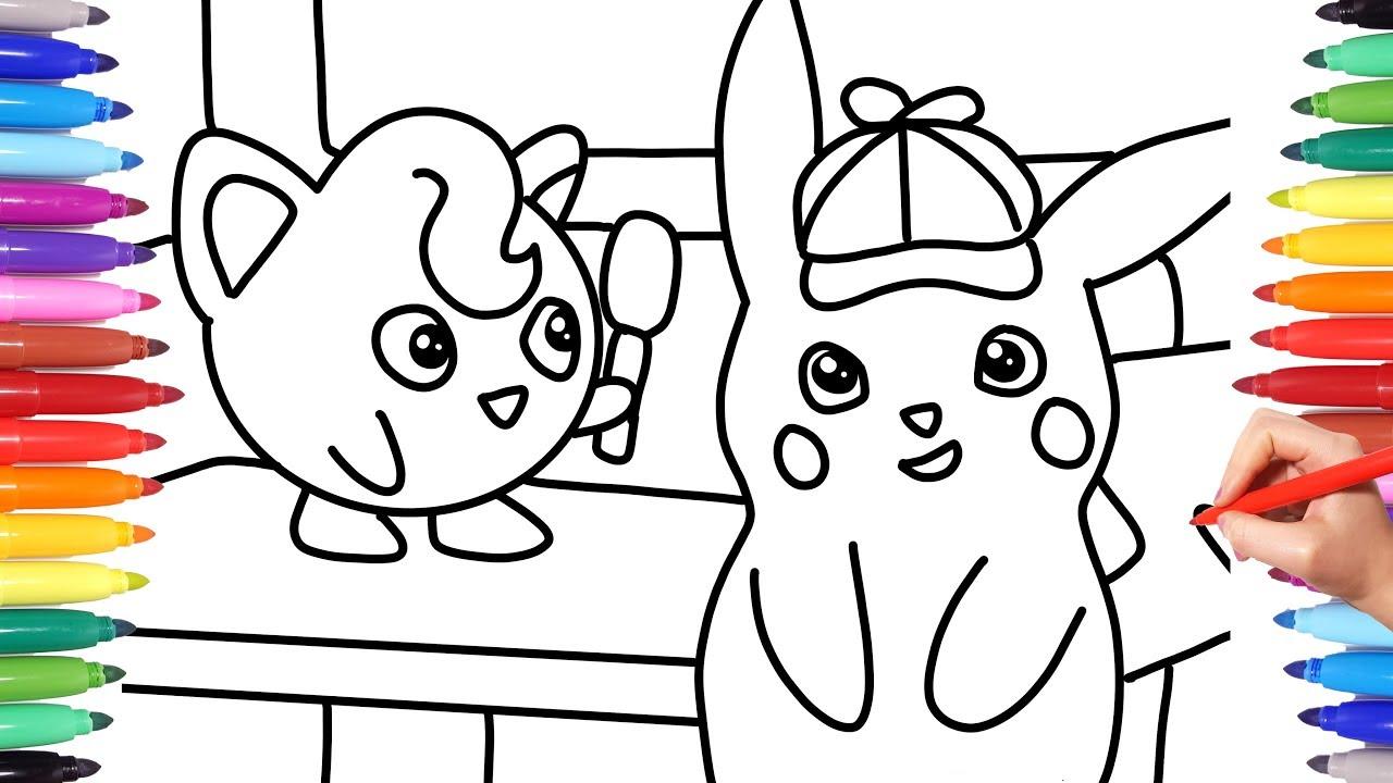 Detective Pikachu Jigglypuff And Detective Pikachu Detective Pikachu Coloring Pages Pokemon Youtube