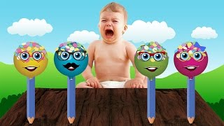 bad baby crying and baby learn colors giant spider boss baby colorful cake pop finger family song