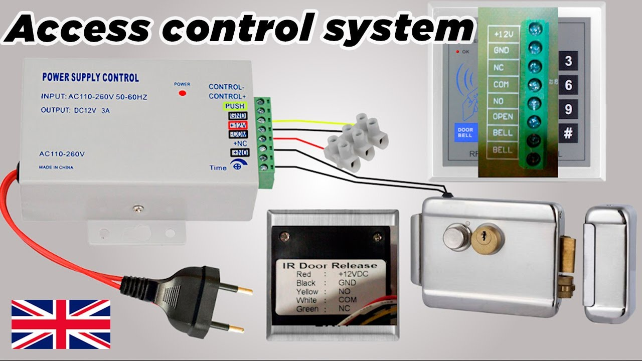 Access control system with door lock, card reader and security exit button - YouTube