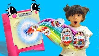 Волшебная стиральная машина превращает яйца в Киндер Сюрприз- Маша и Медведь. Маленький Пылесос
