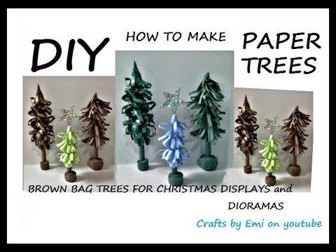 diy, HOW TO MAKE PAPER TREES, for Christmas decor, or dioramas