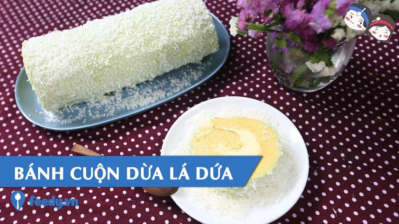 Hướng dẫn cách làm Bánh cuộn dừa lá dứa với #Feedy
