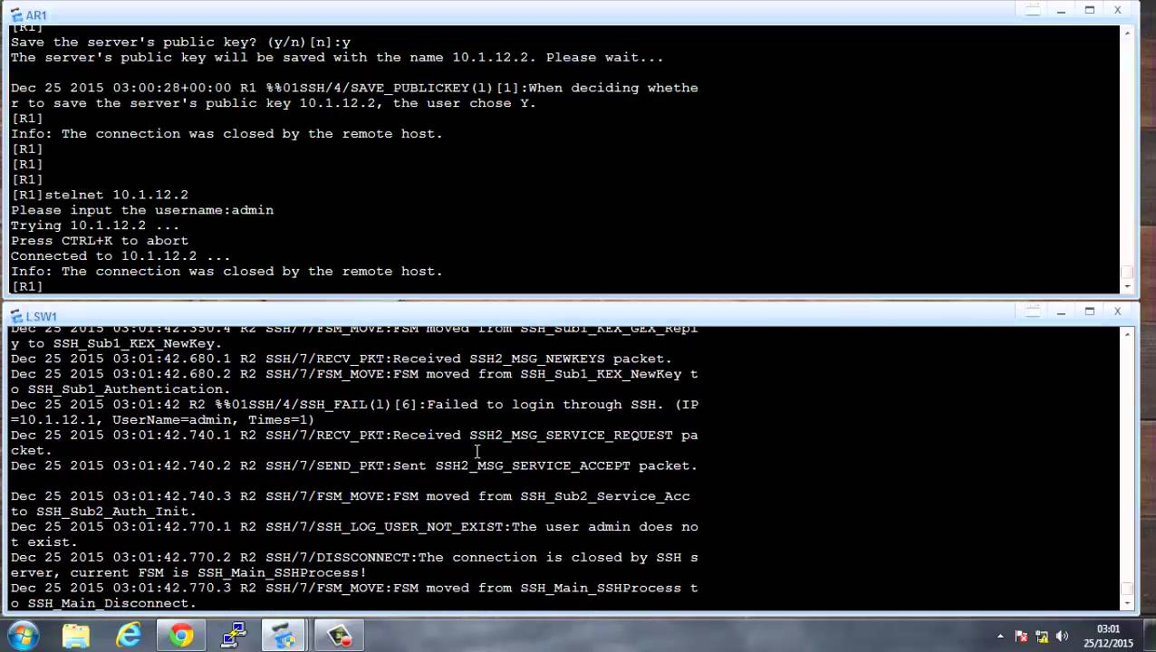 Configure SSH and Telnet on Huawei routers part 2
