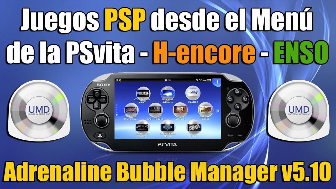Lanzar juegos de PSP desde el menu de PSvita - Adrenaline Bubble Manager v5 10 H encore ENSO - YouTube
