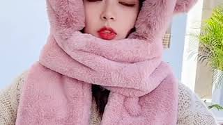 Jennie 스타일 겨울 모자 리틀베어 목도리모자 일체…