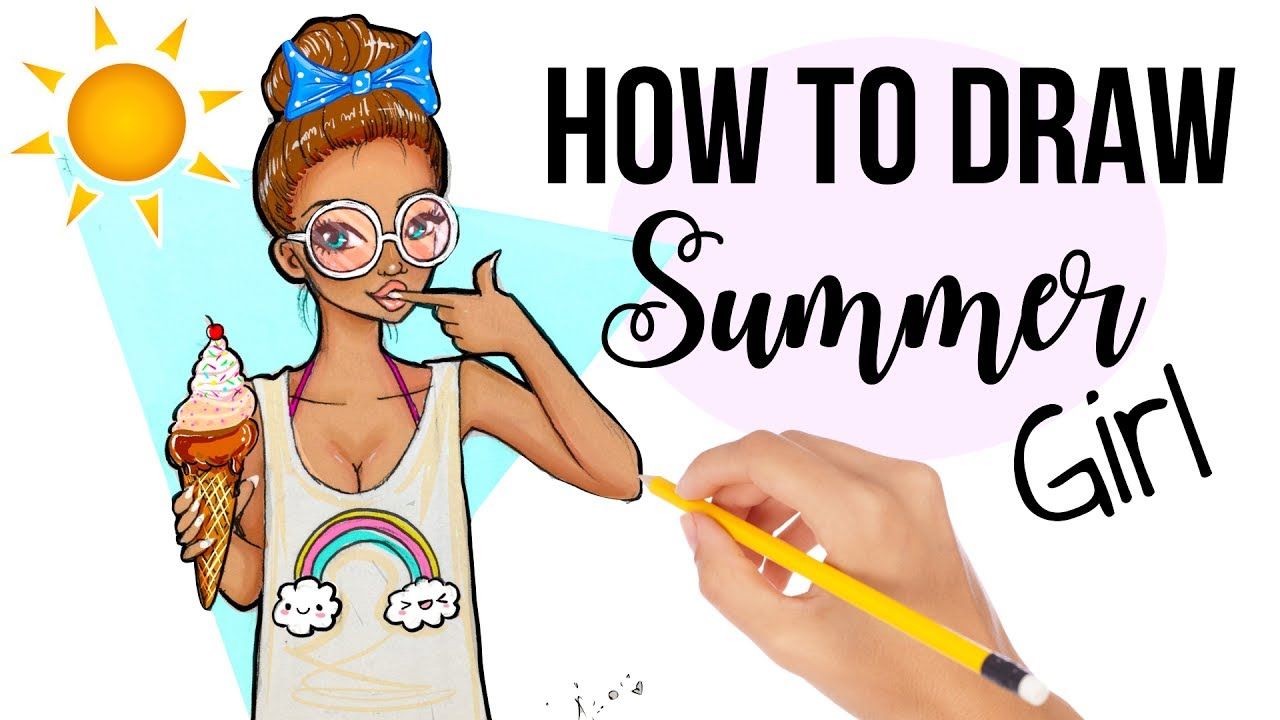 How to draw a summer girl with icecream cute easy for How to draw a cute girl easy
