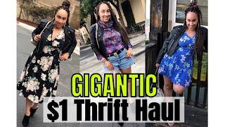 MASSIVE Gigantic $1 Try-On Thrift Haul & More! | Thrifting My Life Away | Jillian Felice