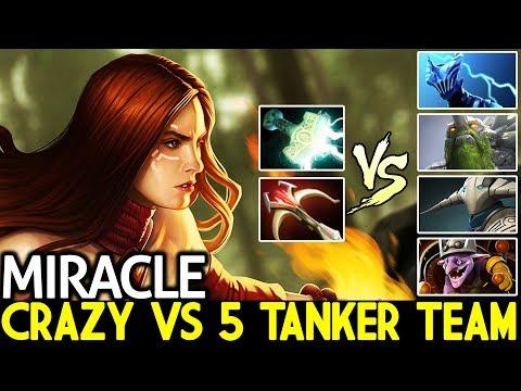 Miracle- [Lina] Crazy Boss VS 5 Tanker Team Super Hard Game 7.21 Dota 2