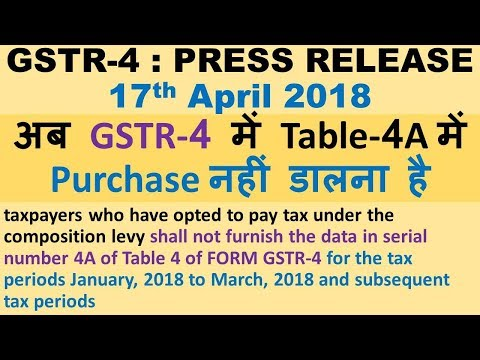 GSTR 4 PRESS RELEASE, NO NEED TO FILL PURCHASES, HOW TO FILE GSTR 4