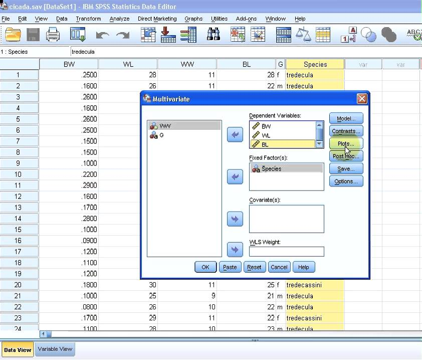 Multivariate analysis spss
