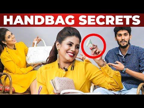 Iniya's HANDBAG Secrets Revealed | What's Inside the HANDBAG | Galatta Handbag | VJ Rukshanth