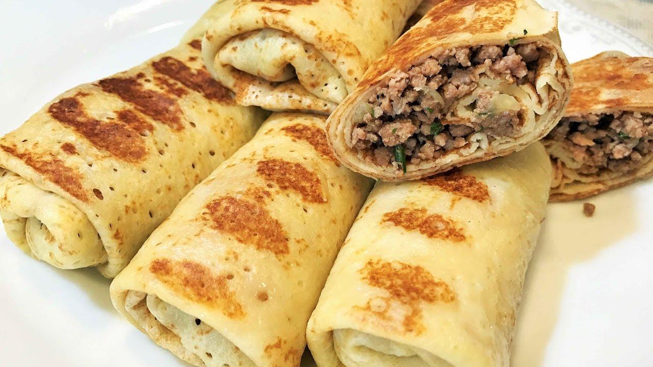 БЛИНЧИКИ с МЯСОМ. Блины.Просто и Вкусно!  Pancakes With Meat.