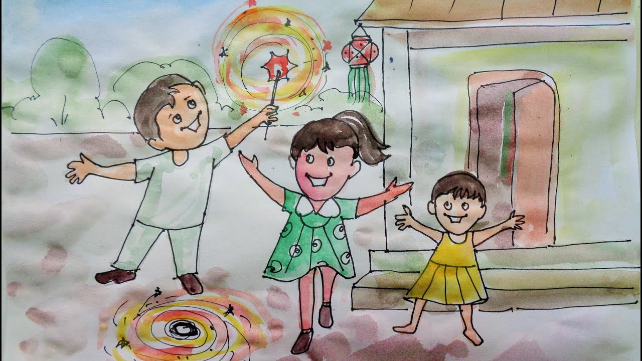 Happy diwali speacial drawing for kids 2018