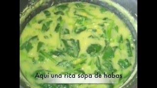 Sopa De Habas Con Espinacas/ Fava Soup With Spinach
