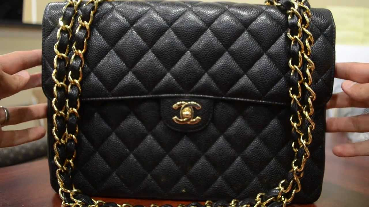 2ba018b4beb8fa Pre-owned Authentic Chanel Caviar Jumbo Flap Handbag - YouTube