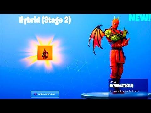 new stage 2 dragon hybrid skin unlocked leaked emotes fortnite battle royale - fortnite skin hybride