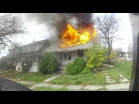House fire Florence st Highland Park Fire dept helmet cam