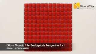 Glass Mosaic Tile Backsplash Tangerine 1x1  - 101CHIGLABR111