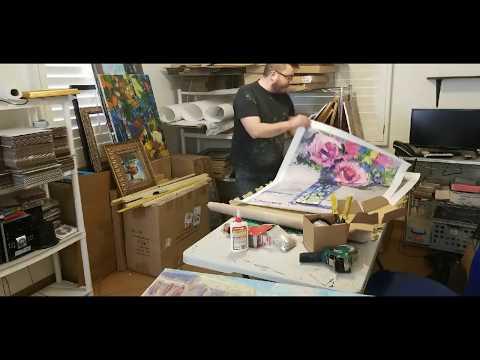 Framing a Painting - Artist Studio - JOSE TRUJILLO