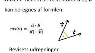 BEVIS Vinkel v mellem de to vektorer a og b