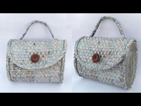 Newspaper handbag | Women's handbag | How to make a newspaper purse | Newspaper clutch | HMA##189
