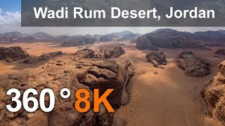 360 video, Wadi Rum Desert, The Valley of the Moon, Jordan. 8K aerial video thumbnail