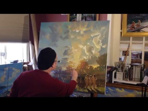 Cayuga Crepuscular Light,  Three Graces- oil painting demo, a landscape with three  nudes