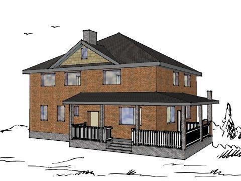 Проект дома Турин (южный фасад, двухэтажный дом). Часть 1