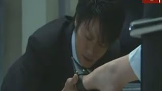 Asian Femdom Scene, licking shoes in the office