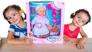 Кукла доктор, игрушка доктор. Доктор лечит игрушек. Обзор куклы  Седа ТВ(Распаковка и обзор куклы, кукла доктор в белом халате и шапочке. В комплекте с куклой имеется градусник,..., 2016-10-28T14:37:56.000Z)