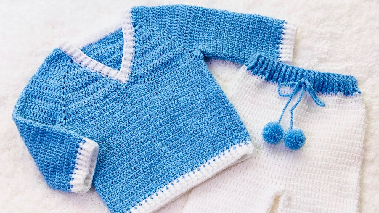 Crochet baby sweater in various sizes EASY for beginners
