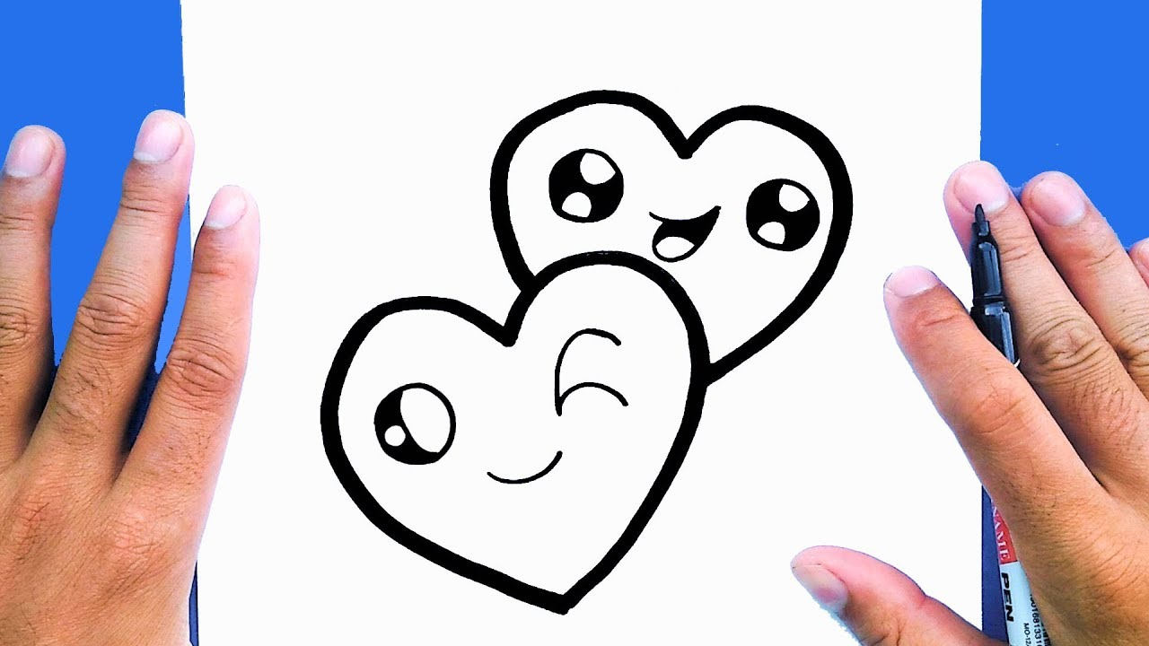 How To Draw A Cute Couple Heart Valentins Draw Draw Cute Things