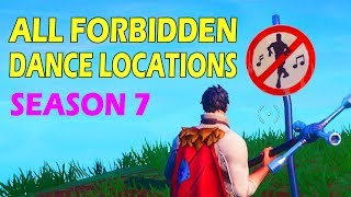 """""""Dance in Different Forbidden Locations"""" ALL 7 LOCATIONS FORTNITE WEEK 1 SEASON 7 GUIDE"""