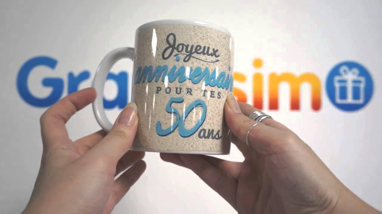 mug photo blanc joyeux anniversaire 50 ans personnaliser youtube. Black Bedroom Furniture Sets. Home Design Ideas