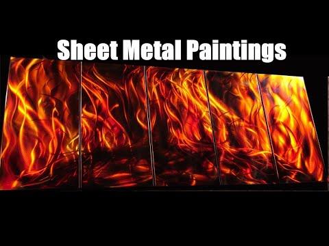 Metal paintings youtube for Metallic paint artwork