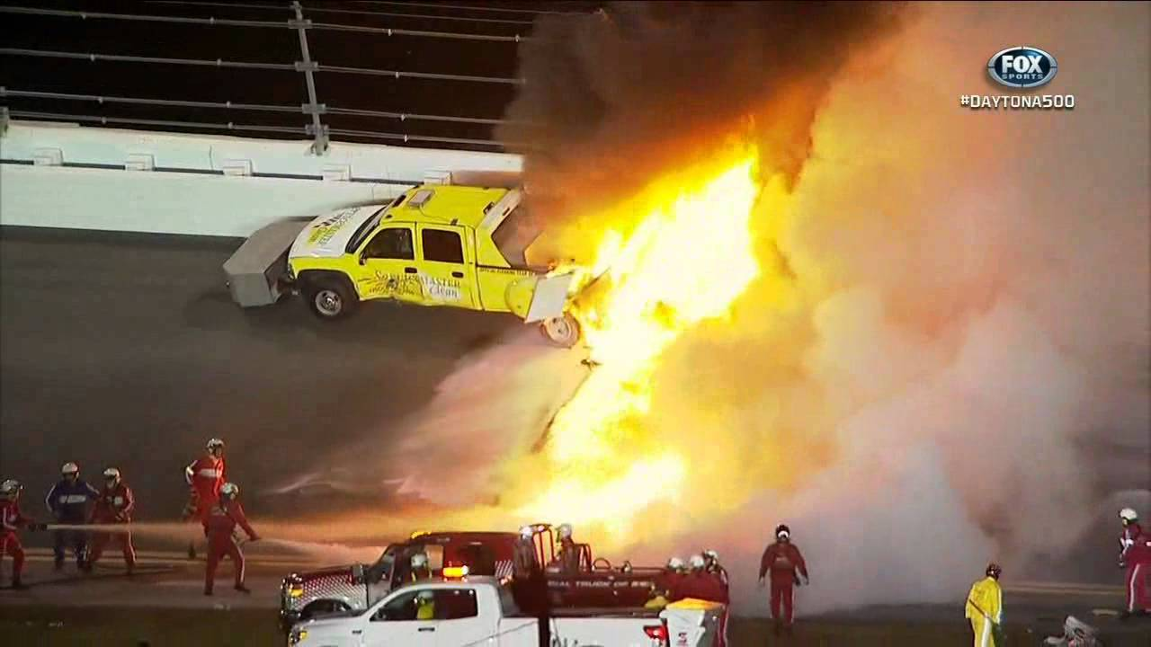 2012 Daytona 500 Juan Montoya Wrecks Jet Dryer Huge
