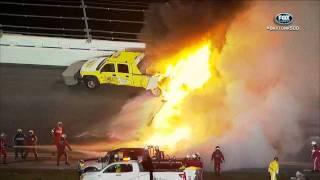 Repeat youtube video 2012 Daytona 500 Juan Montoya wrecks jet dryer huge explosion & fire