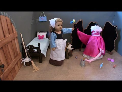 American Girl Doll: Cinderella Attic Bedroom, making her dress for the Ball