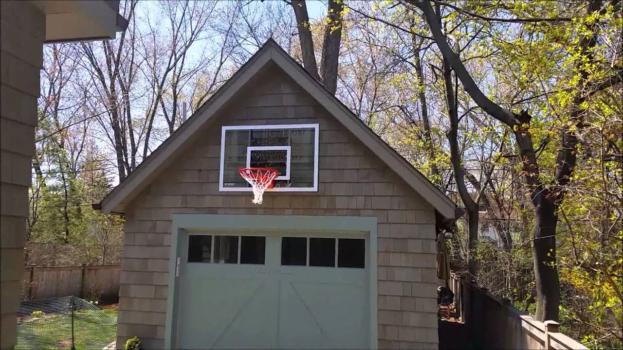 Goalsetter gs54 baseline wall mount basketball hoop youtube for Basketball garage