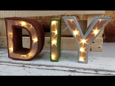 Leuchtbuchstaben zur Deko selber basteln DIY [Tutorial in deutsch]
